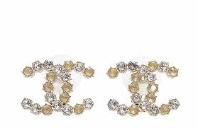cc earrings chanel cc logo two tone 2015 classic gold stud earrings