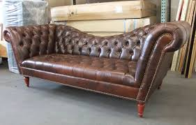 Tufted Chesterfield Sofa by The Perfect Sofa Reverse Camelback Leather Diamond Tufted