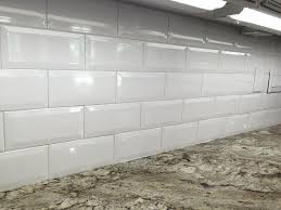 X White Ceramic Beveled Subway Tile In Kitchen Backsplash View - Ceramic subway tiles for kitchen backsplash