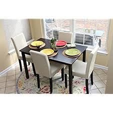 Round Dining Table With Armchairs Amazon Com 5pc Glass Dining Table With 4 Chairs Set Glass Metal