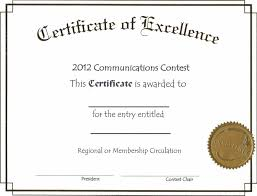 free editable certificate of excellence template example with