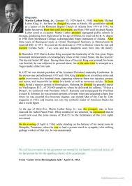 biography for martin luther king martin luther king biography worksheet free esl printable