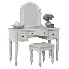 White Bedroom Vanity And Mirror Shop Home Styles Bermuda Brushed White Makeup Vanity With Stool At