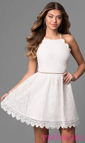 white lace ivory lace party dress with scallops promgirl
