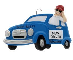 new driver boy personalized ornament