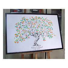 wedding guest sign in personalize fingerprint wedding tree wedding guest book tree