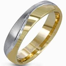 14k gold wedding band simon g 14k gold brushed two tone men s wedding band