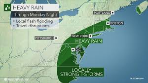Boston And New York Map by Rain Heavy Storms To Drench Northeastern Us Into Monday Night