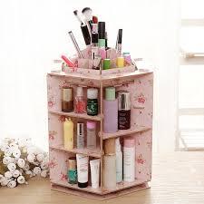 stay gold 360 degree rotating cosmetic case desktop wood storage box diy cosmetics make up organizer