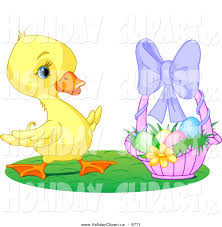 holiday clip art of a cute yellow duckling with a basket of easter