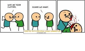 give me your clothes please go away created with explosam comic