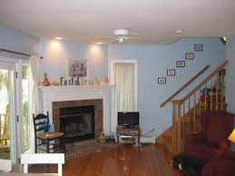 blue wall color and white fireplace using small black fur carpet