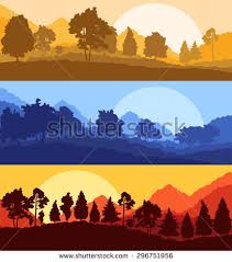 forest wood mountain background vector set stock vector 296751956
