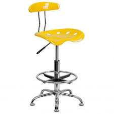 Tractor Seat Bar Stool Furniture Vibrant Orange Yellow And Chrome Drafting Stool With
