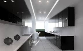 Gloss Kitchen Cabinets by Classy White Black Colors Curved Shape Kitchen Featuring Black