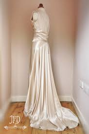 sample sale oyster silk satin art deco wedding dress with hand