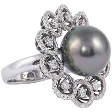 pearl engagement rings tahitian pearl diamond cluster gold ring for sale at 1stdibs