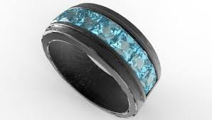 Aquamarine Wedding Rings by Men U0027s Black Gold U0026 Channel Set Aquamarine Wedding Band Vidar