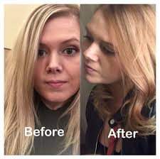 before and after from blonde to rose gold with olaplex colorist
