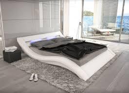 bett designer wellenförmiges lederbett luxus leder bett schwarz weiß mit led