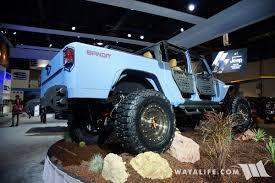starwood motors jeep blue 2016 sema lund starwood bandit jeep jk wrangler pickup