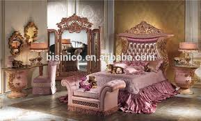 luxury wooden and brass bedroom bed italian carving bed with