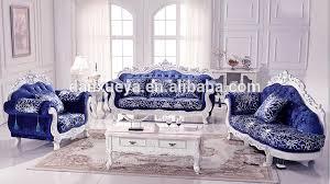 Velvet Sofa Set Luxury Living Room Furniture Royal Elegant Blue Velvet Sofa Set