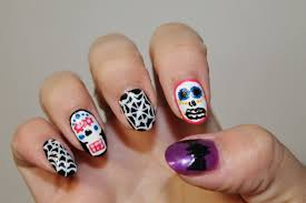 jersey texan heart sugar skull and cobweb nail art