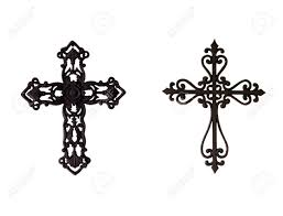 two ornate iron crosses stock photo picture and royalty free