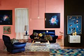 living room amazing exposed pink brick wall navy blue sofa