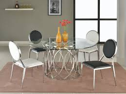 Glass Dining Room Furniture Sets Courtney 5pc Glass Dining Table U0026 4 Lisa Chairs By Chintaly