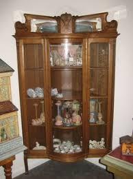 Corner Glass Display Cabinet Ebay Antique American Corner Cabinet Cupboard Hutch Hand Carved Oak