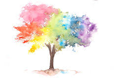 rainbow tree illustration watercolor painting stock illustration