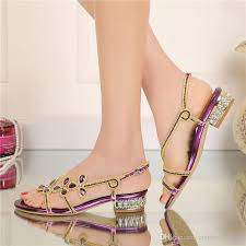 wedding shoes gold color low heel rhinestone sandals 2016 summer shoes