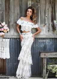 sherri hill 32230 off shoulder southwest 2pc long lace dress