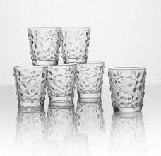 set bicchieri set 6 bicchieri vetro trasparente decorato a rilievo