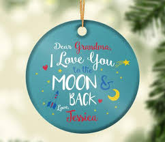 you to the moon back personalized ceramic ornament