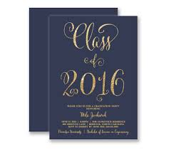graduation invitations navy u0026 gold glitter look modern elegant