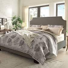 alicante fabric upholstered bed grey linen queen bed in grey linen