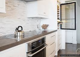 Marble Mosaic Backsplash Tile by Brown Quartz Kitchen Countertop White Kitchen Cabinets Modern