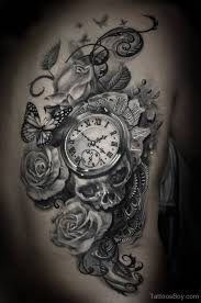 clock and rose tattoo on back tattoo designs tattoo pictures