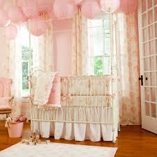peach pink vintage baby nursery bedding white metal crib