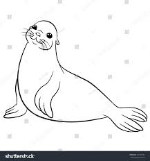 coloring pages little cute fur seal stock vector 447725704