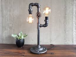 custom made industrial edison bulb light iron pipe table lamp