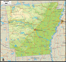 Beaver Lake Map Physical Map Of Arkansas Ezilon Maps