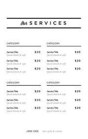 service menu template image studios service menu template imagestudios image studios