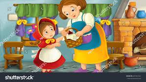 cartoon scene mother grandmother child kitchen stock illustration