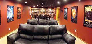Home Theater Decor Amusing Home Theater Room Design Decorating Ideas With Red Sofa