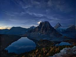 canada starry night mountain lake forest fall snowy peak