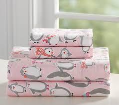 Penguin Comforter Sets Penguin Flannel Sheet Set Pottery Barn Kids